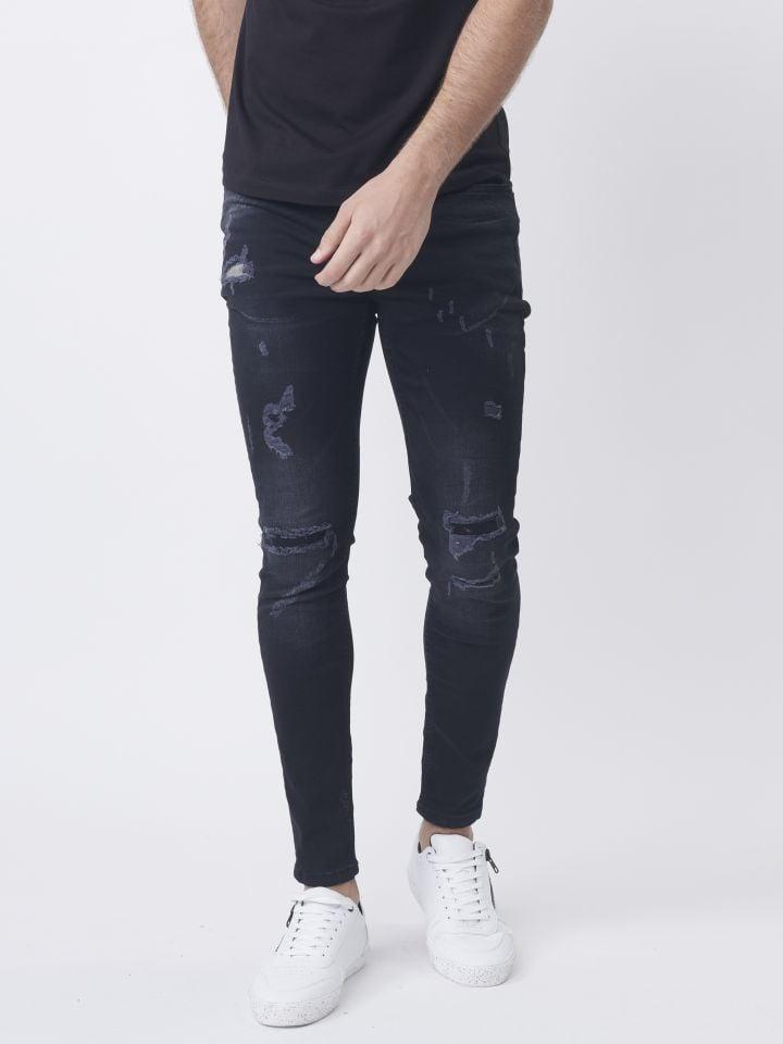 ג'ינס שחור עם קרעים אטומים
