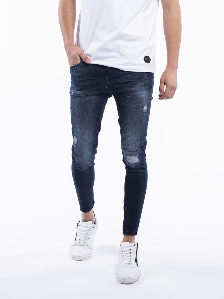 ג`ינס כחול משופשף