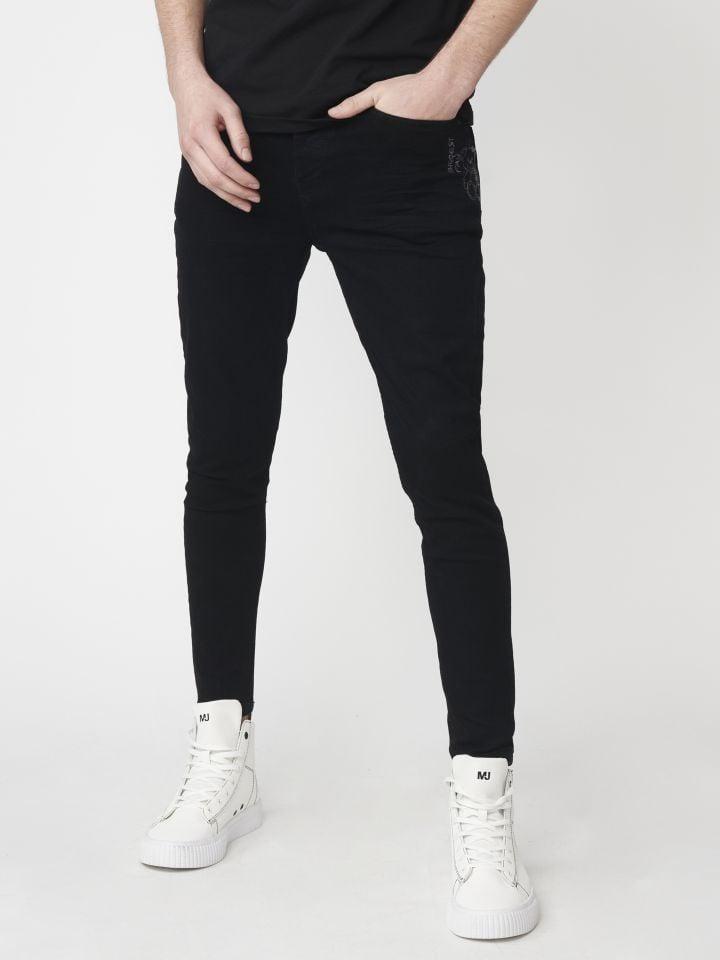 מכנסי ג`ינס בשילוב ריקמת דובי