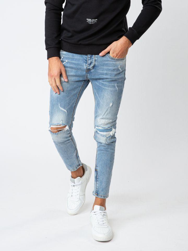 ג`ינס סופר סקיני עם קרעים עדינים