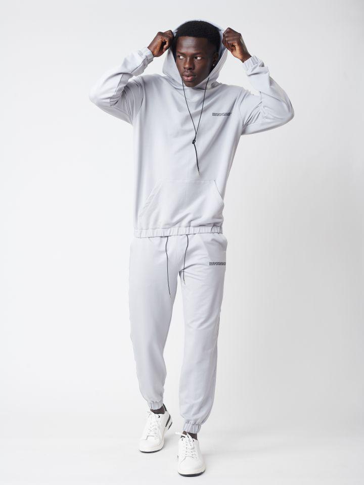 מכנסי פוטר בשילוב הדפס וסיומת ריב